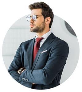 businessman with eyeglasses looking sideways