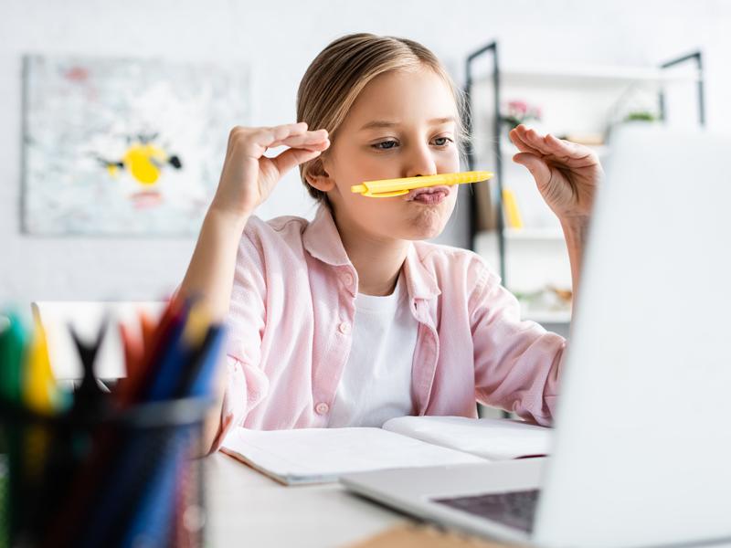 girl homeschooling