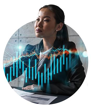 woman forex market concept Financial graph hologram. Multiexposure. International business.