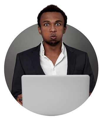 African American businessman looking worried about tax return