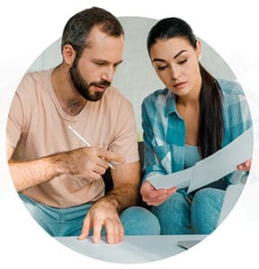 two persons discussing income protection insurance