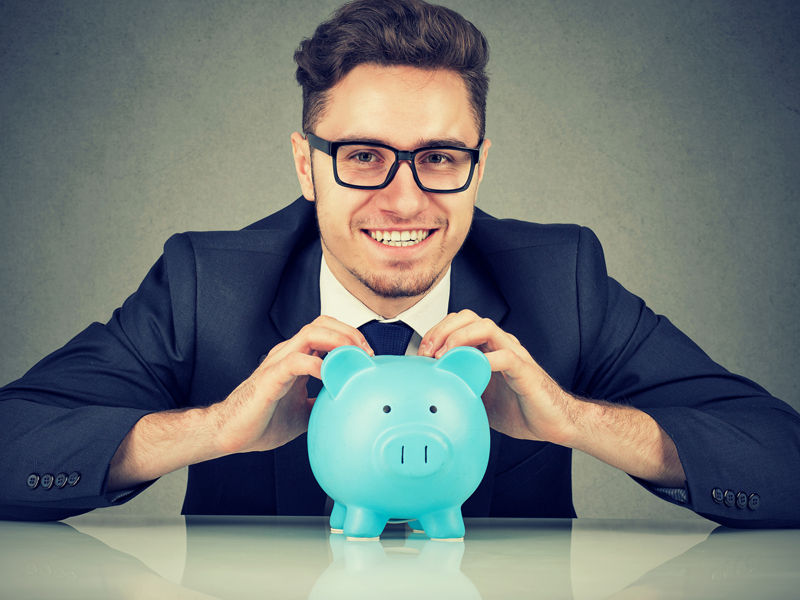 businessman with piggy bank