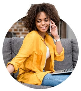 Woman talking to someone in phone asking for tax tips