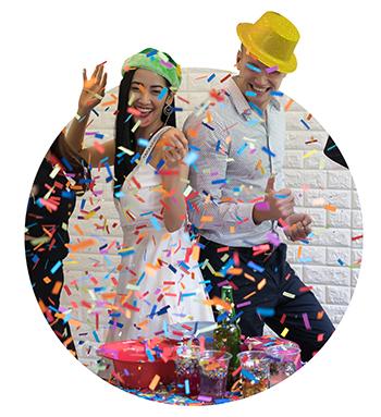 Happy business group people in santa hat having fun for celebrit