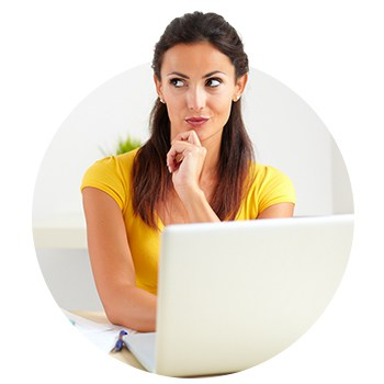 pensive woman thinking about tax deadline